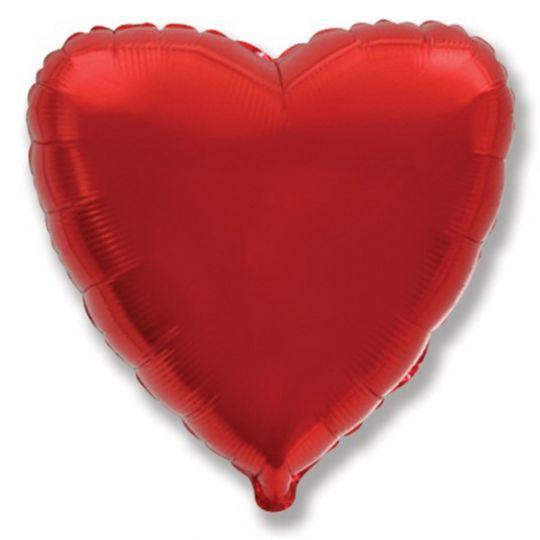 Сердце красное шар фольгированный с гелием