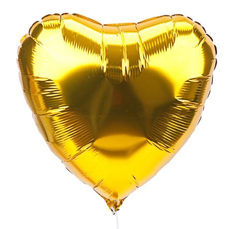Сердце золотое шар фольгированный с гелием