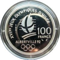 Франция 100 франков 1991 г. - Хоккей