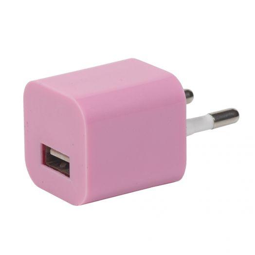 Вилка USB квадрат розовый (1000 mA, 5V)