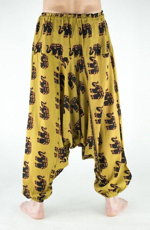 Мужские индийские штаны алладины со слонами (отправка из Индии)