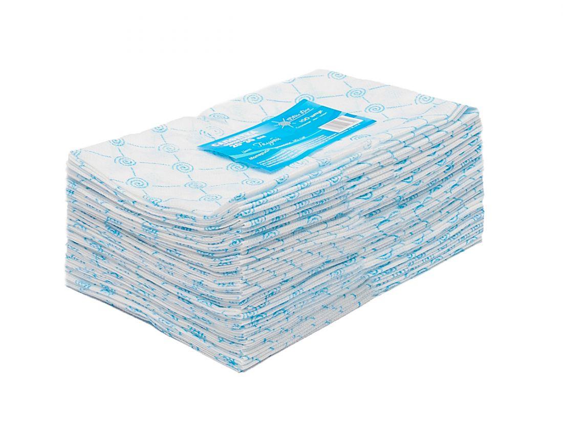 Салфетка одноразовая 20*30 спанлейс голубой White line №100шт пачка