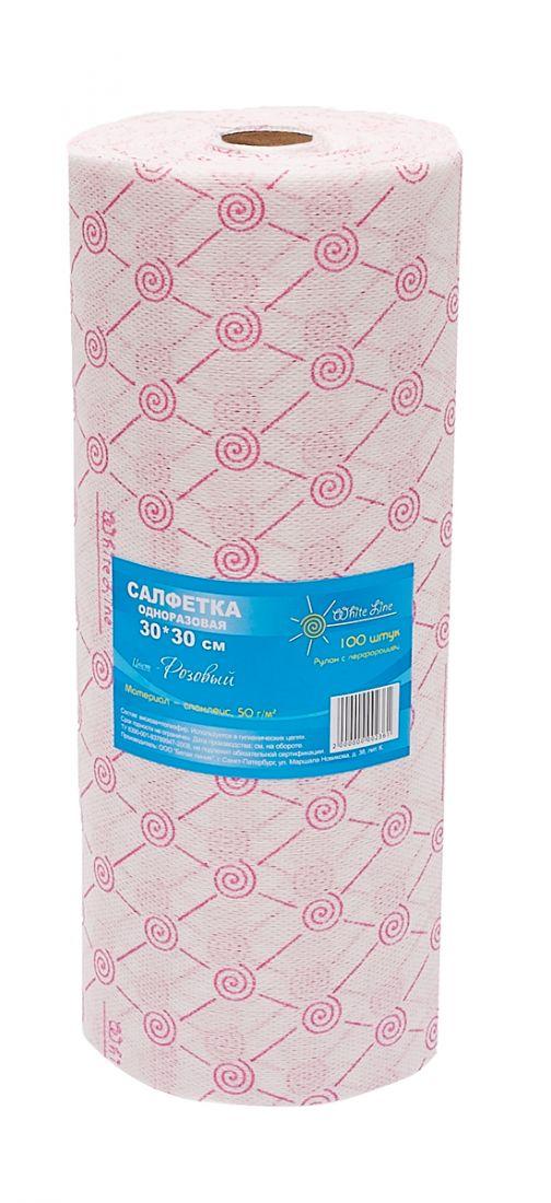 Салфетка одноразовая 30*30 спанлейс розовый  White line (№100) рол