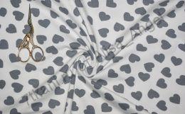 Сердечки серые на белом кулирка с лайкрой отрез 1м ширина 147см