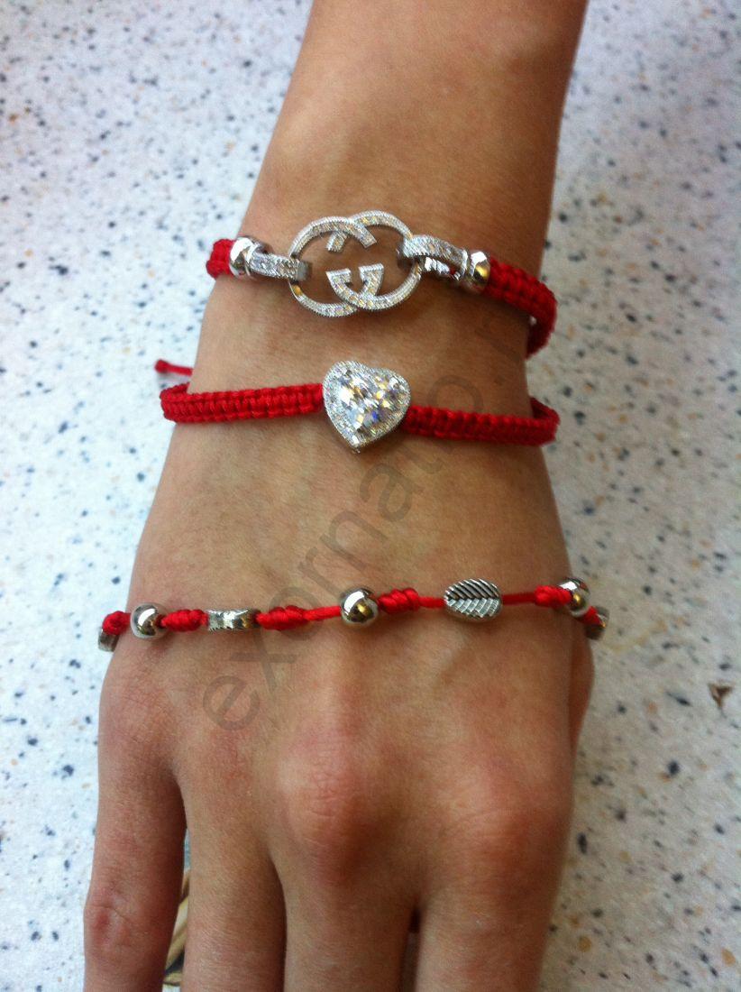 """Браслет Fashion Jewelry 297-015. Браслет """"Красная нить"""" с цирконом"""