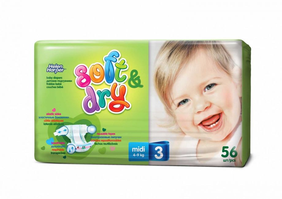 Helen Harper  Детские подгузники Soft Dry midi (4-9 кг) 56 шт