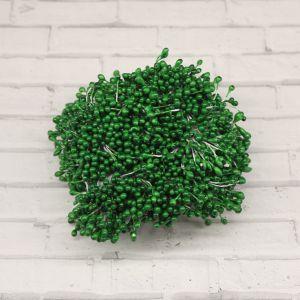 `Тычинки перламутровые двусторонние, 3х60мм, цвет №10 зеленый (1уп = 70-80 тычинок)