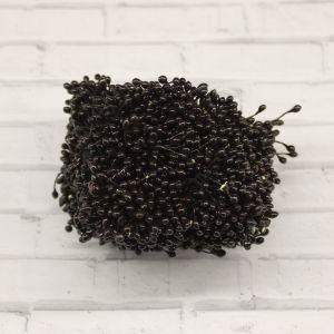 `Тычинки перламутровые двусторонние, 3х60мм, цвет №23 черный (1уп = 70-80 тычинок)