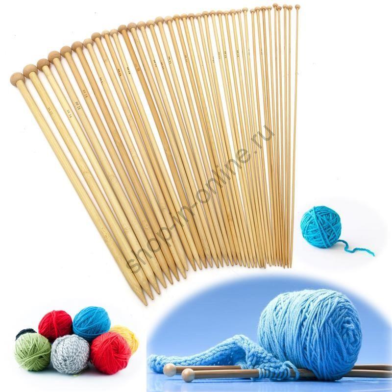 Спицы бамбуковые 36 шт 35 см от 2.00-10.00 мм
