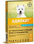 Адвокат 100 Капли от блох и гельминтов для собак от 4 до 10 кг (3 шт./уп.)