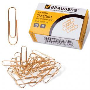 Скрепки BRAUBERG (БРАУБЕРГ), 28 мм, золотистые, 100 шт., в картонной коробке