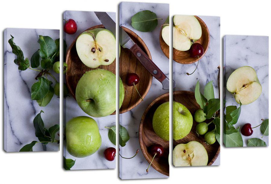 Модульная картина Яблоки и вишня