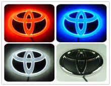 Эмблема Тойота с LED подсветкой, 4D стиль, цвет на выбор