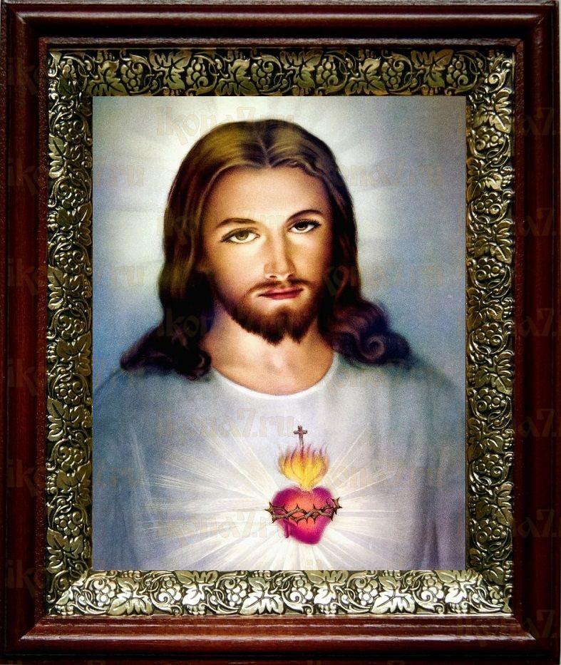 Сердце Иисуса Христа (19х22), темный киот