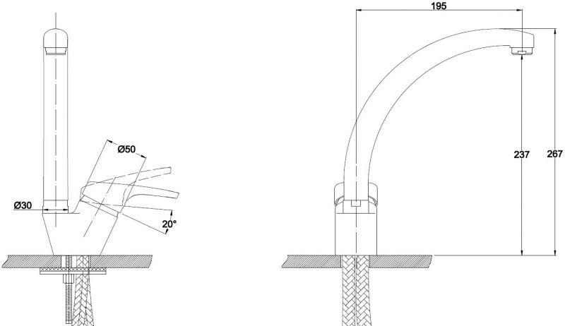 Kaiser Conty 55244-7 Смеситель для кухни Коричневый мрамор