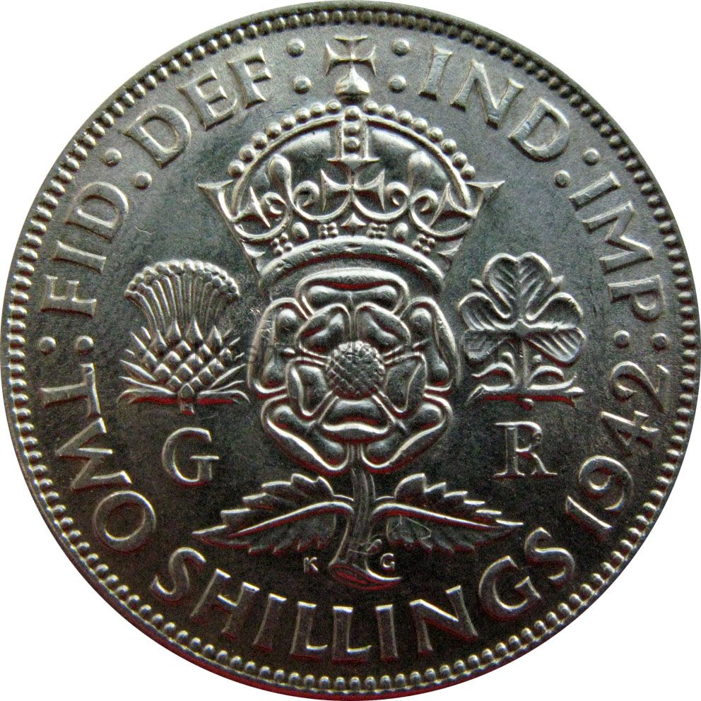 Великобритания 1 флорин (2 шиллинга) 1942 г.