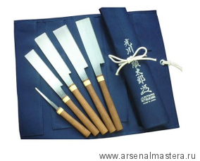 Премиум пилы японские Juntaro Mitsukawa комплект 5 шт (Kataba, Kugihiki, Mawashibiki)  в сумке - скрутке Miki Tool М00009210