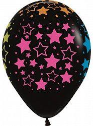 Черные с неоновыми звездами латексные шары с гелием
