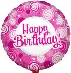С Днём рождения кружочки фуксия шар фольгированный с гелием