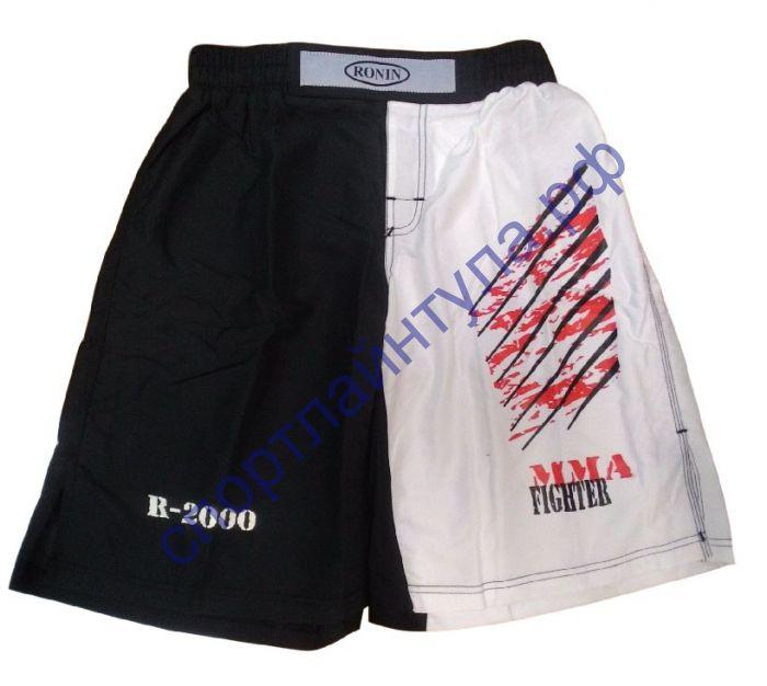 Шорты MMA Ronin черно-белые F893С