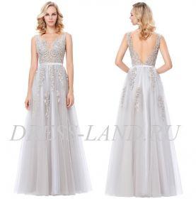 Красивое вечернее платье с кружевным лифом