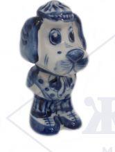 Собака Гжель Щенок Филя (большой) 9,5х5х4,5 см