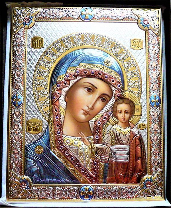 Серебряная икона Божьей Матери Казанской (листовое серебро, Италия)