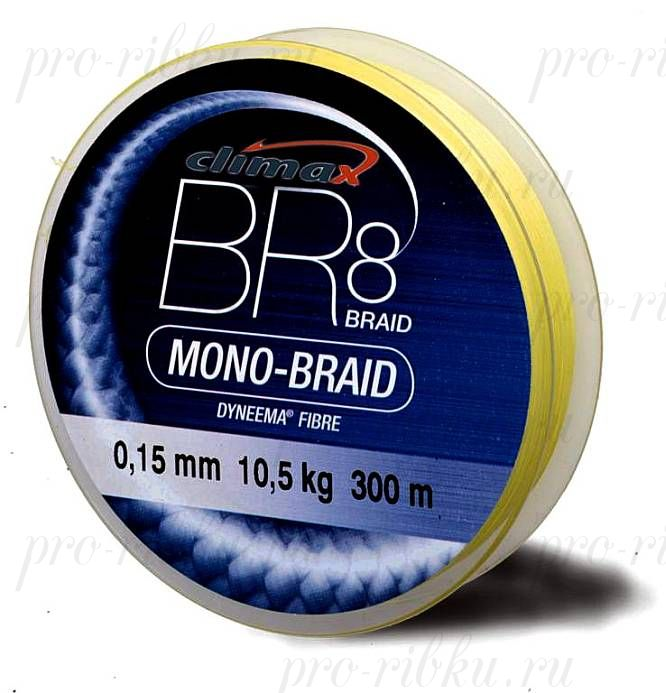 Плетёный шнур Climax BR8 Mono-Braid (флюресцентно-желтый) 135м 0,30мм 32.0кг (круглый)