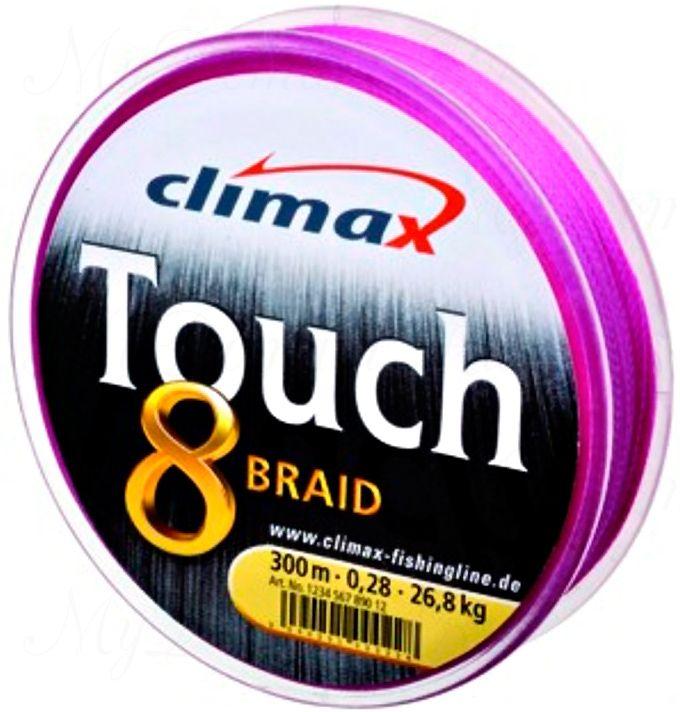 Плетёный шнур Сlimax Touch 8 Braid (розовый) 135м 0,22мм 9,2кг (круглый)