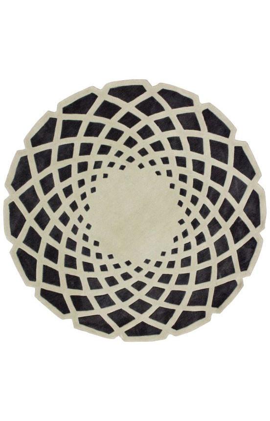 Ковер круглый серо чёрный 1,8 м
