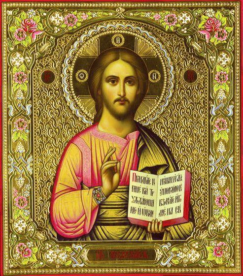 Господь Вседержитель (рукописная икона с резьбой)