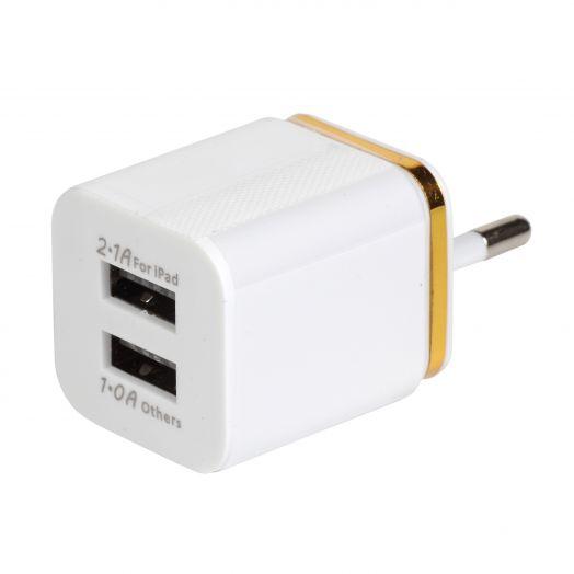 Вилка 2 USB квадрат Gold Line (2.1A / 1A)