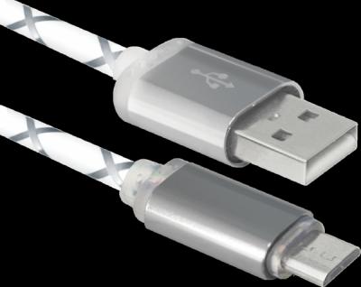 USB кабель USB08-03LT USB2.0 серый, LED, AM-MicroBM, 1м
