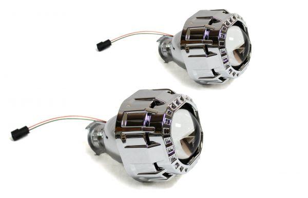 """Комплект биксеноновых линз Carprofi CUBE 2.5"""" H1,без АГ, квадратная маска (MORIMOTO)"""
