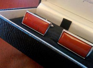 стильные английские запонки из натуральной яшмы ,прямоугольные  OBLONG CABOCHON RED JASPER