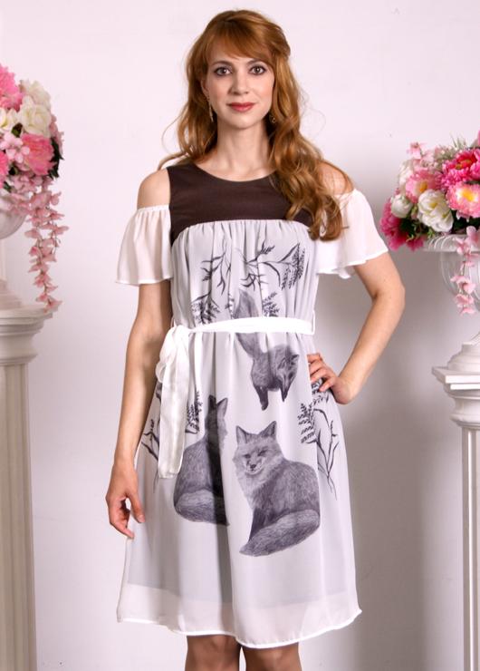 Летнее платье с лисами