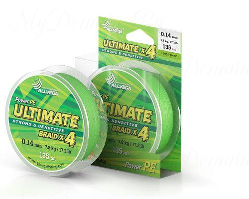 "Шнур плетёный ALLVEGA ""Ultimate"" 135м светло-зелёный 0,14мм (7,8кг)"