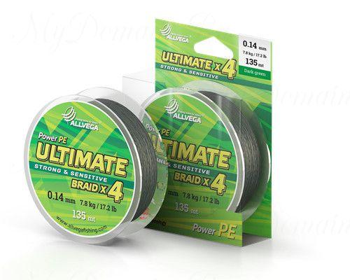 "Шнур плетёный ALLVEGA ""Ultimate"" 135м тёмно-зелёный 0,28мм (19,8кг)"