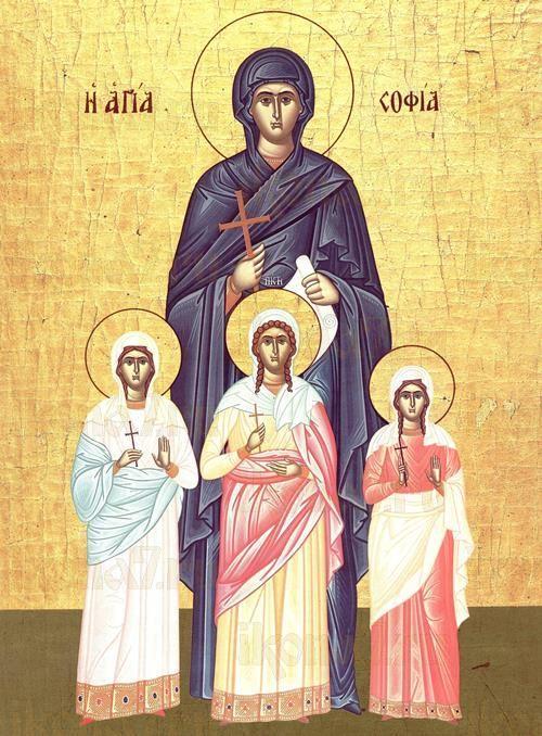 Вера, Надежда, Любовь и София (икона на дереве)