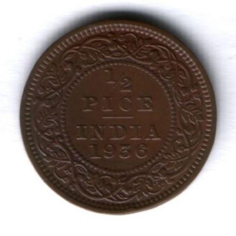 1/2 пайса 1936 г. Индия