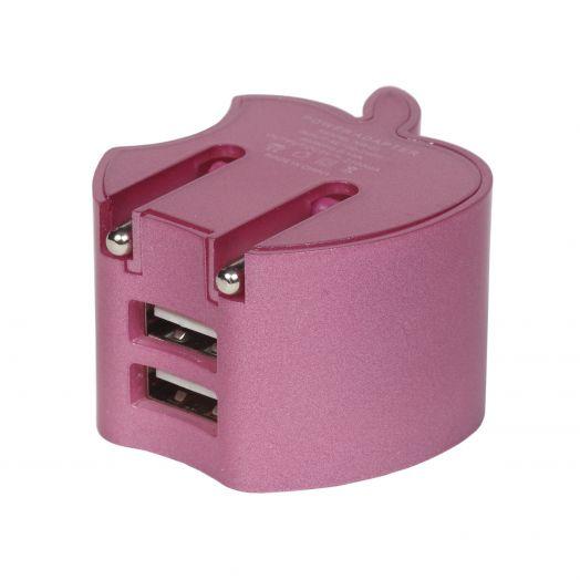 "Вилка 2 USB ""Яблоко"" розовый"