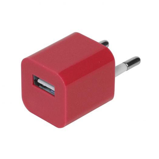 Вилка USB квадрат красный (1000 mA, 5V)