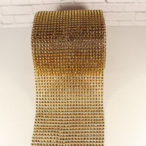 "Лента декоративная ""имитация страз"", ширина 12 см, длина 10 ярдов, цвет: 05 красное золото"