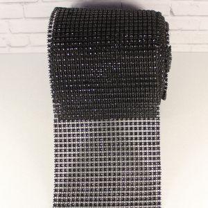 """Лента декоративная """"имитация страз"""", ширина 12 см, длина 10 ярдов, цвет: 63 черный"""