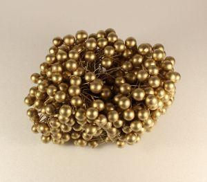 `Ягоды 10 мм (длина 16см), цвет - золото. 1 уп = 40 ягодок ( 20 веточек)