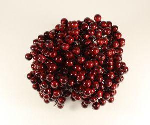 `Ягоды 10 мм (длина 16см), цвет - бордовый. 1 уп = 40 ягодок ( 20 веточек)