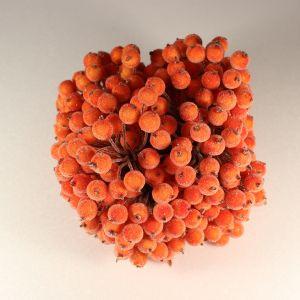 `Ягоды в сахарной обсыпке 12 мм (длина 16см), цвет - оранжевый. 1 уп = 40 ягодок ( 20 веточек)