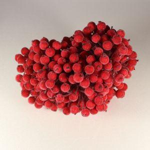 `Ягоды в сахарной обсыпке 12 мм (длина 16см),цвет - красный. 1 уп = 40 ягодок ( 20 веточек)