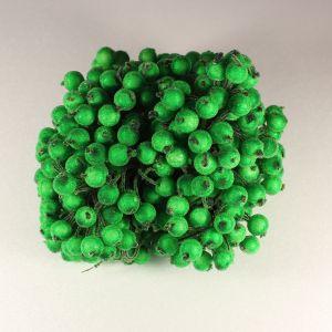 `Ягоды в сахарной обсыпке 12 мм (длина 16см), цвет - зеленый. 1 уп = 40 ягодок ( 20 веточек)