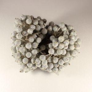 `Ягоды в сахарной обсыпке 12 мм (длина 16см), цвет - серебро. 1 уп = 40 ягодок ( 20 веточек)